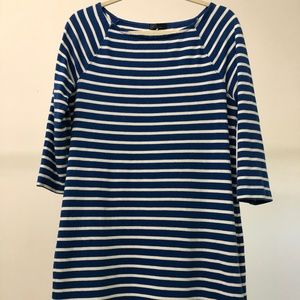 Royal blue and white striped shift dress